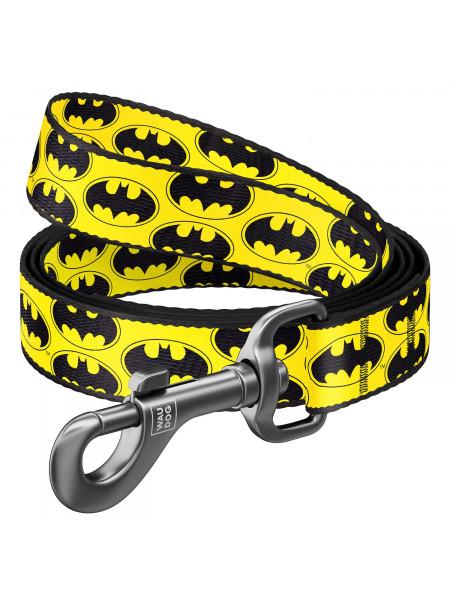 Поводок WAUDOG Nylon с рисунком «Бетмен Лого» 122 см / 25 мм (жёлтый)