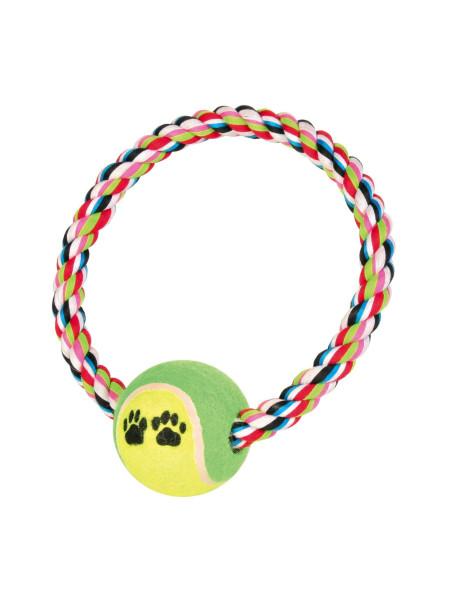Игрушка для собак Trixie Кольцо плетёное с теннисным мячом d=18 см, d=6 см (текстиль, цвета в ассортименте)