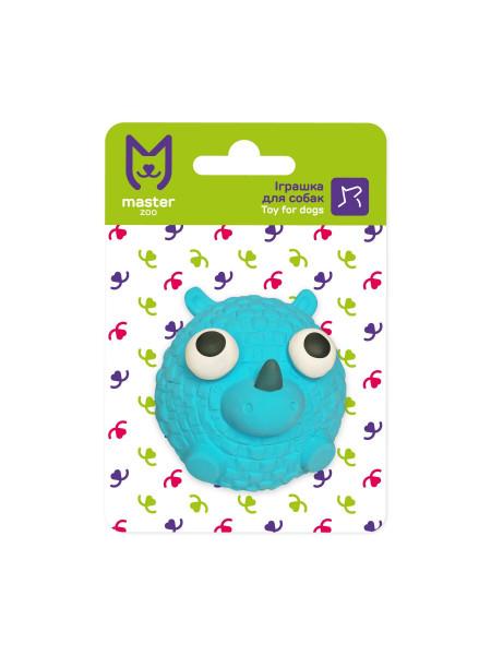 Игрушка для собак MasterZoo Носорог синий с пищалкой 7,6 х 5,6 х 5,6 см (резина)
