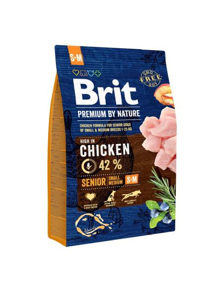 Сухой корм для пожилых собак мелких и средних пород (весом от 1 до 25 кг) Brit Premium Senior S+M 3 кг (курица)