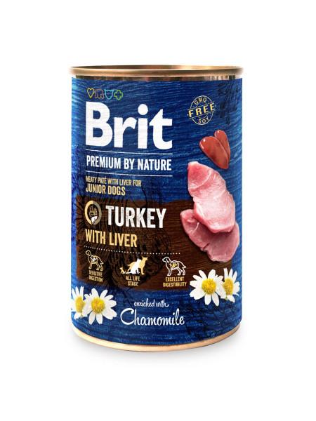 Влажный корм для щенков и молодых собак Brit Premium By Nature Turkey with Liver 800 г (индейка)