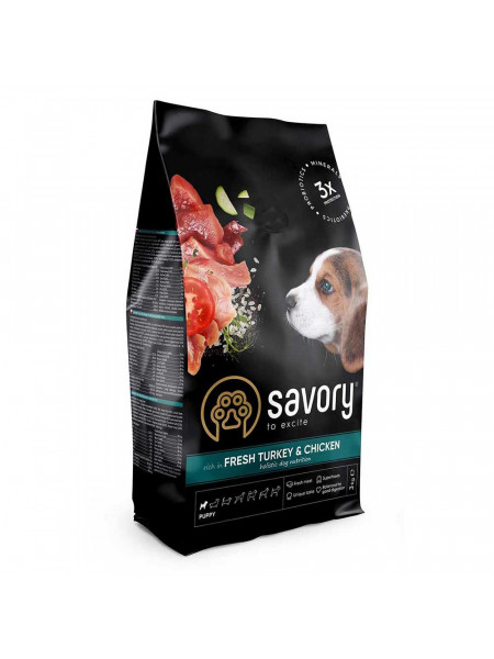 Сухой корм для щенков Savory 3 кг (индейка и курица)