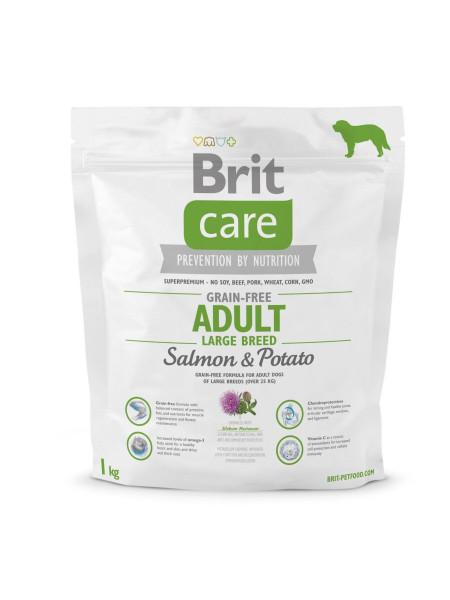 Сухой корм для взрослых собак крупных пород (весом от 25 до 45 кг) Brit Care GF Adult Large Breed Salmon & Potato 1 кг (лосось)