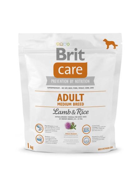 Сухой корм для взрослых собак средних пород (весом от 10 до 25 кг) Brit Care Adult Medium Breed Lamb & Rice 1 кг (ягненок и рис)