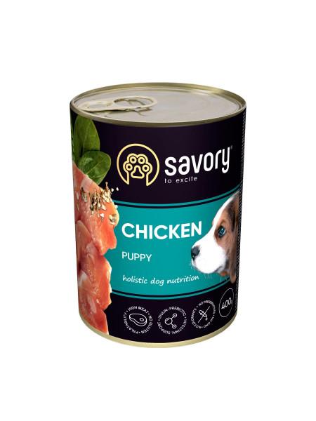 Влажный корм для щенков Savory 400 г (курица)