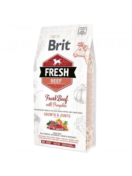 Сухой корм для щенков и молодых собак крупных пород Brit Fresh Beef Pumpkin Puppy Junior Growth & Joints 2,5 кг (говядина)
