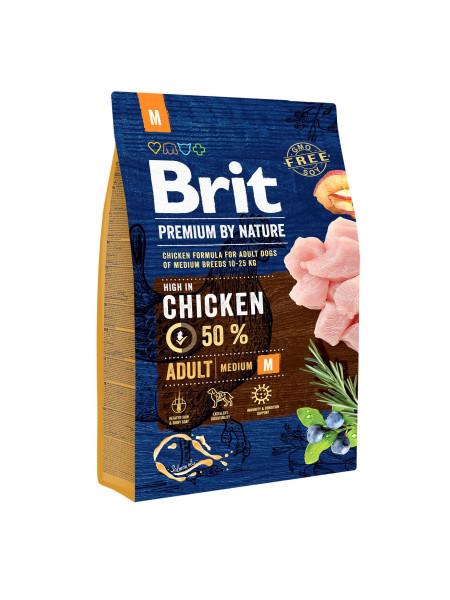 Сухой корм для взрослых собак средних пород (весом от 10 до 25 кг) Brit Premium Adult M 3 кг (курица)