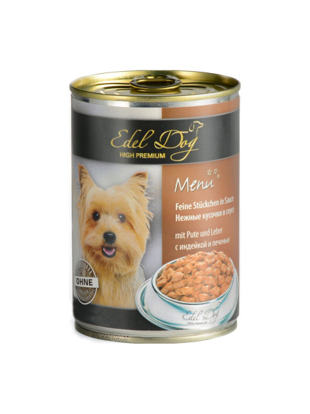 Влажный корм для собак Edel Dog 400 г (индейка и печень в соусе)