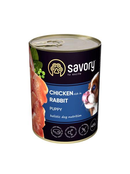 Влажный корм для щенков Savory 400 г (курица и кролик)