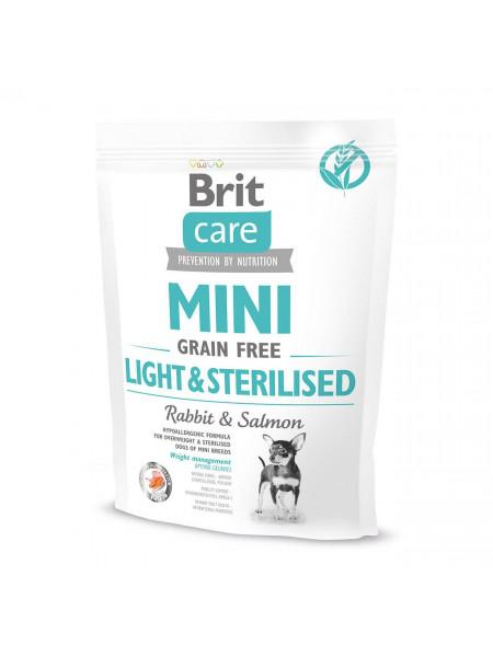 Сухой корм для собак миниатюрных пород с избыточным весом или стерилизованных Brit Care Mini GF Light & Sterilised 400 г (лосось и кролик)