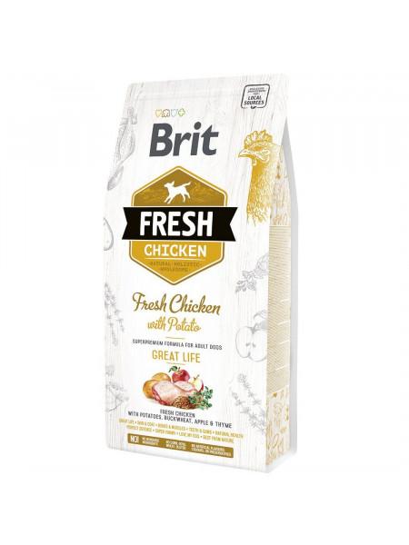 Сухой корм для взрослых собак Brit Fresh Chicken with Potato Adult Great Life 2,5 кг (курица)