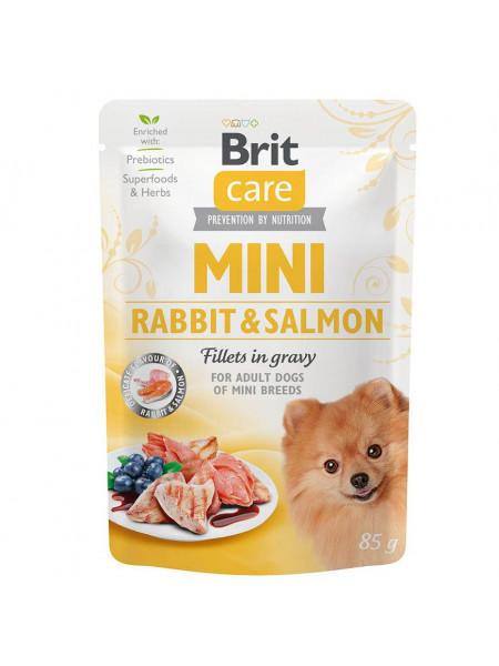 Влажный корм для собак Brit Care Mini pouch 85 g филе в соусе (лосось и кролик)