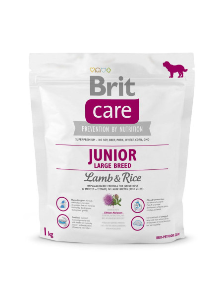 Сухой корм для щенков и молодых собак крупных пород (весом от 25 кг) Brit Care Junior Large Breed Lamb & Rice 1 кг (ягненок и рис)