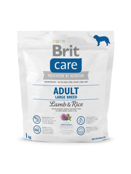 Сухой корм для взрослых собак крупных пород (весом от 25 кг) Brit Care Adult Large Breed Lamb & Rice 1 кг (ягненок и рис)
