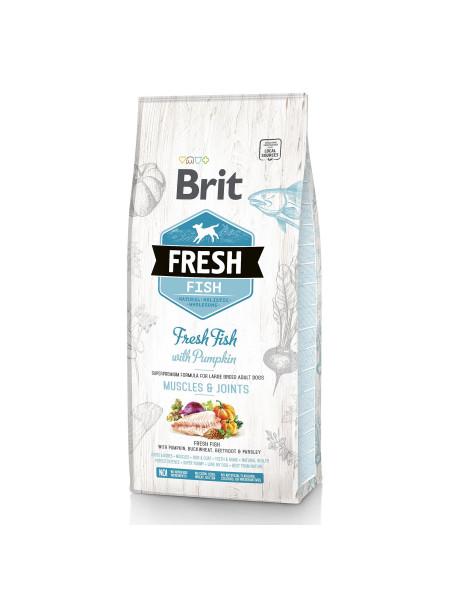 Сухой корм для взрослых собак крупных пород Brit Fresh Fish Pumpkin Adult Muscles & Joints 12 кг (рыба)