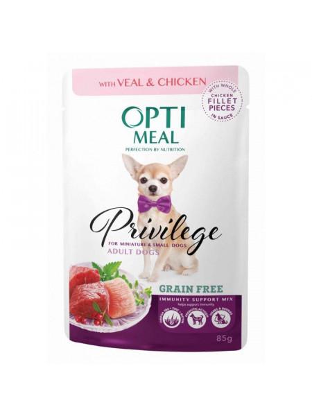 Влажный корм для собак миниатюрных и малых пород OPTIMEAL 85г (телятина и курица в соусе)