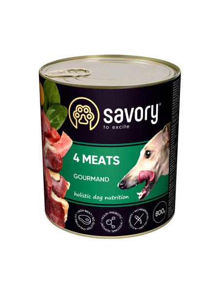 Влажный корм для взрослых собак Savory 800 г (мясное ассорти)