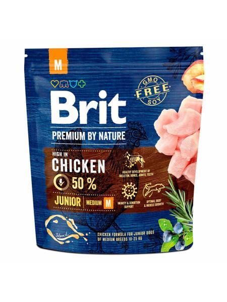 Сухой корм для щенков и молодых собак средних пород (весом от 10 до 25 кг) Brit Premium Junior M 1 кг (курица)