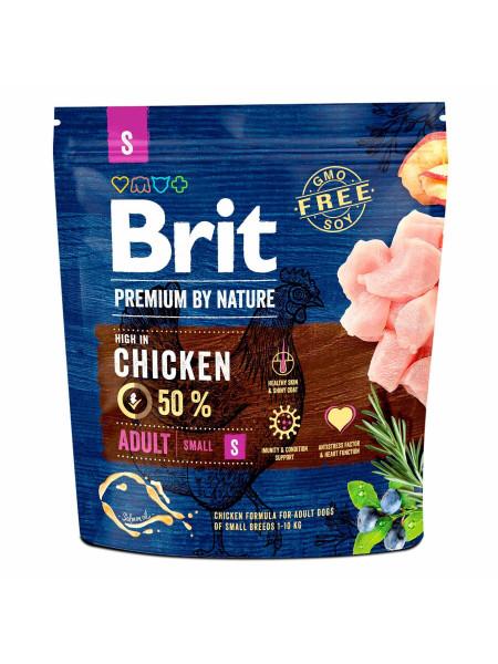 Сухой корм для взрослых собак мелких пород (весом до 10 кг) Brit Premium Adult S 1 кг (курица)