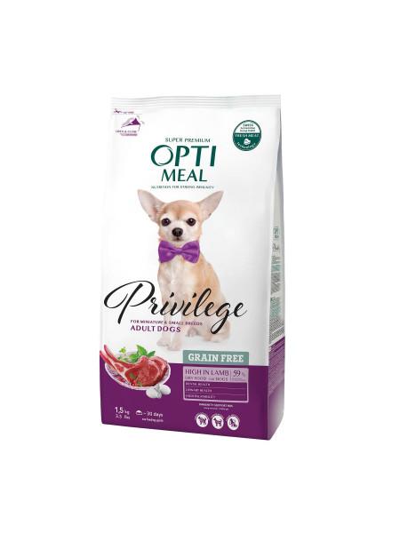Сухой беззерновой корм для взрослых собак малых пород Optimeal 1,5 кг (ягненок)