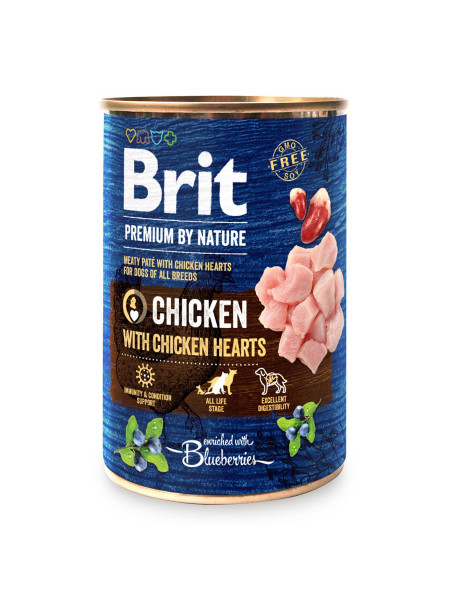 Влажный корм для собак Brit Premium By Nature Chicken with Hearts 400 г (курица)