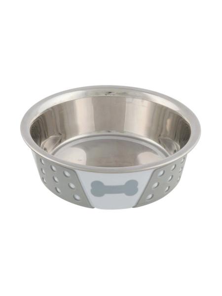 Миска металлическая Trixie на резиновом основании 400 мл / 14 см (серая)