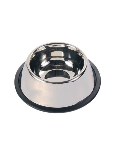Миска металлическая для длинноухих собак Trixie на резиновом основании 900 мл / 25 см