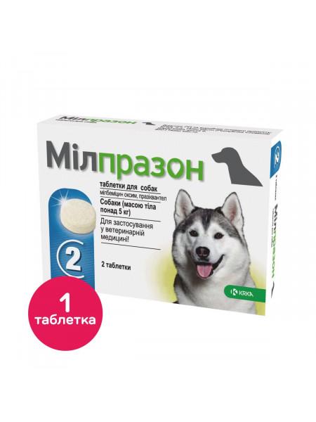 Таблетки для собак KRKA «Милпразон» от 5 на 25 кг, 1 таблетка (для лечения и профилактики гельминтозов)