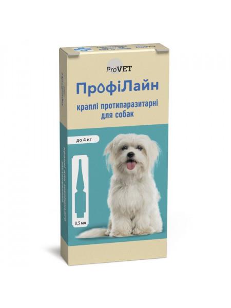 Капли на холку для собак ProVET «ПрофиЛайн» до 4 кг, 4 пипетки (от внешних паразитов)