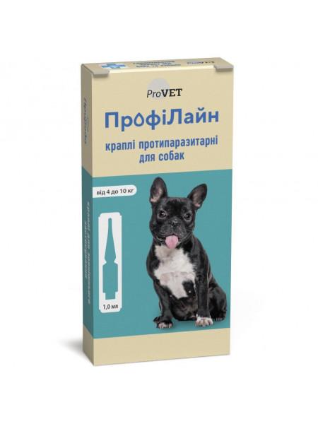 Капли на холку для собак ProVET «ПрофиЛайн» от 4 до 10 кг, 4 пипетки (от внешних паразитов)