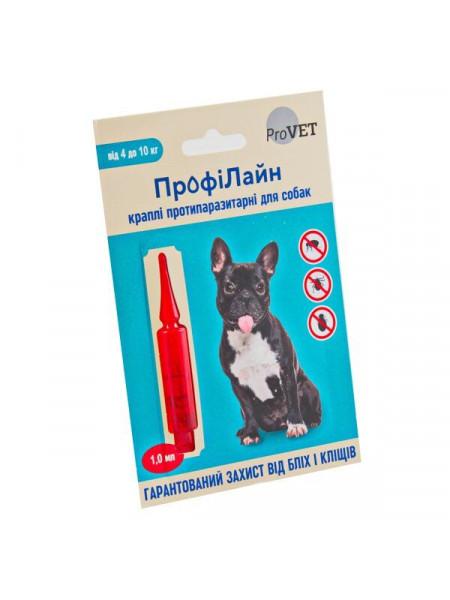 Капли на холку для собак ProVET «ПрофиЛайн» от 4 до 10 кг, 1 пипетка (от внешних паразитов)